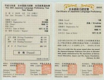 日语能力证书,中韩人力网日本免税店项目招聘
